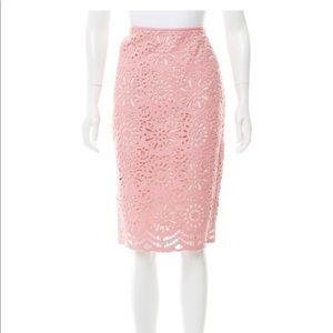 Carmen Marc Valvo Guipure Lace & Leather Skirt
